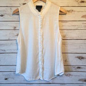 Cynthia Rowley white linen button up shirt
